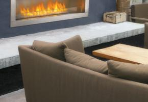 Linear Outdoor Fireplace
