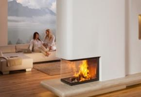 Contemporary Spartherm 3 sided wood burning fireplace