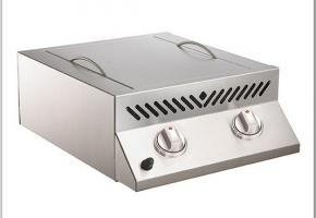Flat top sizzle zone head with two infrared burners