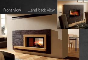 Contemporary Spartherm 2 sided wood burning fireplace