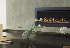 Well equipped linear fireplace