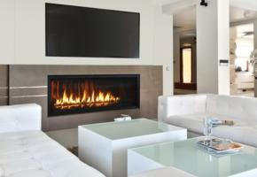 Stunning linear fireplace