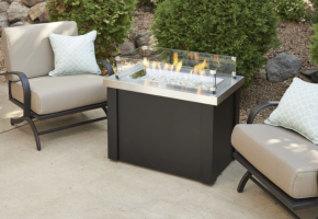 Stainless Steel Providence Rectangular Gas Fire Pit Table
