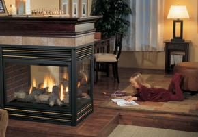 Three Sided Gas Fireplace