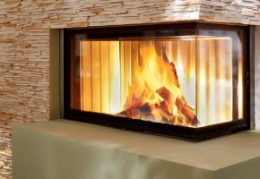 Contemporary Spartherm corner wood burning